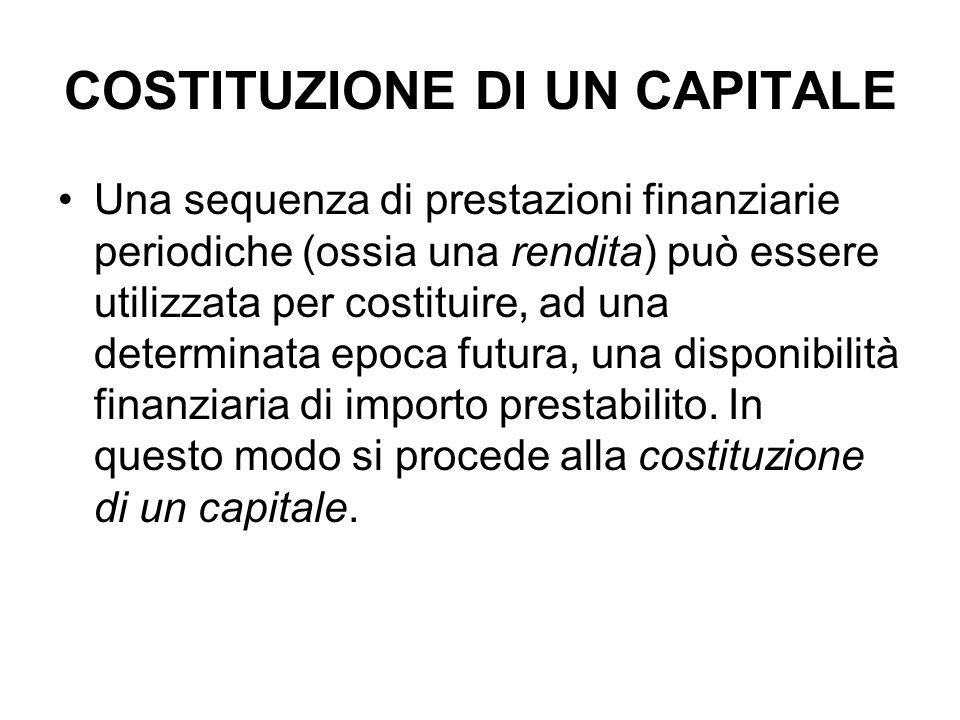 COSTITUZIONE DI UN CAPITALE Una sequenza di prestazioni finanziarie periodiche (ossia una rendita) può essere utilizzata per costituire, ad una determinata epoca futura, una disponibilità finanziaria di importo prestabilito.