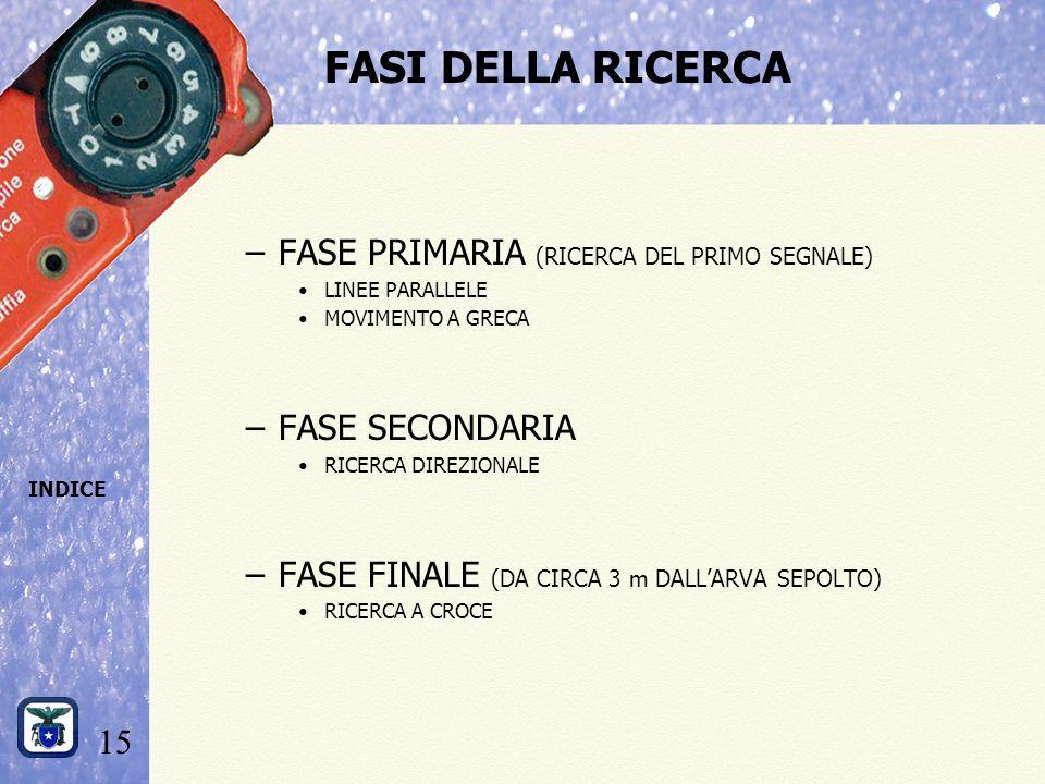 15 INDICE FASI DELLA RICERCA –FASE PRIMARIA (RICERCA DEL PRIMO SEGNALE) LINEE PARALLELE MOVIMENTO A GRECA –FASE SECONDARIA RICERCA DIREZIONALE –FASE FINALE (DA CIRCA 3 m DALL'ARVA SEPOLTO) RICERCA A CROCE