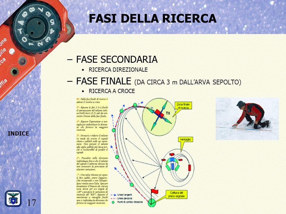 17 INDICE FASI DELLA RICERCA –FASE SECONDARIA RICERCA DIREZIONALE –FASE FINALE (DA CIRCA 3 m DALL'ARVA SEPOLTO) RICERCA A CROCE
