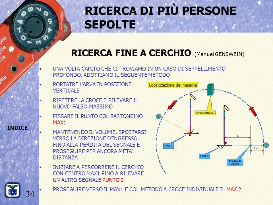 34 INDICE RICERCA DI PIÙ PERSONE SEPOLTE RICERCA FINE A CERCHIO (Manuel GENSWEIN) UNA VOLTA CAPITO CHE CI TROVIAMO IN UN CASO DI SEPPELLIMENTO PROFONDO, ADOTTIAMO IL SEGUENTE METODO PORTATRE L'ARVA IN POSIZIONE VERTICALE RIPETERE LA CROCE E RILEVARE IL NUOVO FALSO MASSIMO FISSARE IL PUNTO COL BASTONCINO MAX1 MANTENENDO IL VOLUME, SPOSTARSI VERSO LA DIREZIONE D'INGRESSO, FINO ALLA PERDITA DEL SEGNALE E PROSEGUIRE PER ANCORA META' DISTANZA INIZIARE A PERCORRERE IL CERCHIO CON CENTRO MAX1 FINO A RILEVARE UN ALTRO SEGNALE PUNTO 2 PROSEGUIRE VERSO IL MAX1 E COL METODO A CROCE INDIVIDUALE IL MAX 2