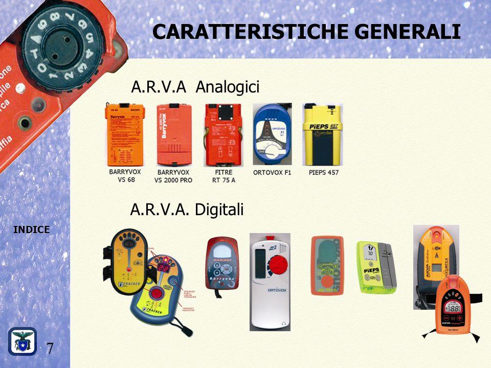 7 INDICE CARATTERISTICHE GENERALI A.R.V.A Analogici A.R.V.A. Digitali