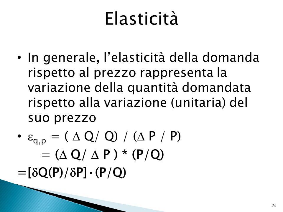 24 Elasticità In generale, l'elasticità della domanda rispetto al prezzo rappresenta la variazione della quantità domandata rispetto alla variazione (unitaria) del suo prezzo  q,p = (  Q/ Q) / (  P / P) = (  Q/  P ) * (P/Q) =[  Q(P)/  P]·(P/Q)