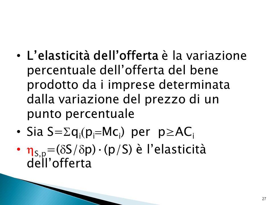 27 L'elasticità dell'offerta è la variazione percentuale dell'offerta del bene prodotto da i imprese determinata dalla variazione del prezzo di un punto percentuale Sia S=  q i  p i  Mc i ) per p≥AC i  S,p =(  S/  p)·(p/S) è l'elasticità dell'offerta