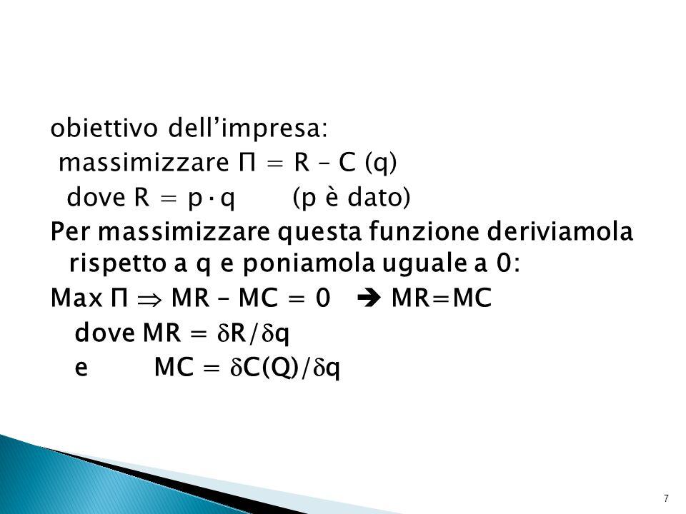 obiettivo dell'impresa: massimizzare П = R – C (q) dove R = p·q (p è dato) Per massimizzare questa funzione deriviamola rispetto a q e poniamola uguale a 0: Max П  MR – MC = 0  MR=MC dove MR =  R/  q e MC =  C(Q)/  q 7