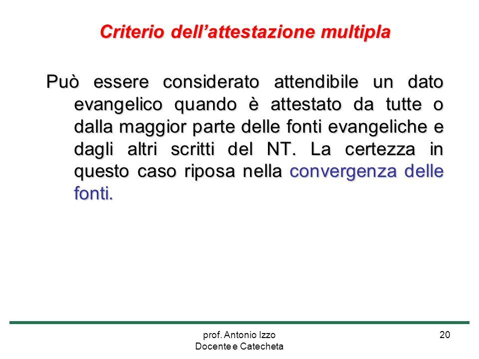 prof. Antonio Izzo Docente e Catecheta 20 Criterio dell'attestazione multipla Può essere considerato attendibile un dato evangelico quando è attestato