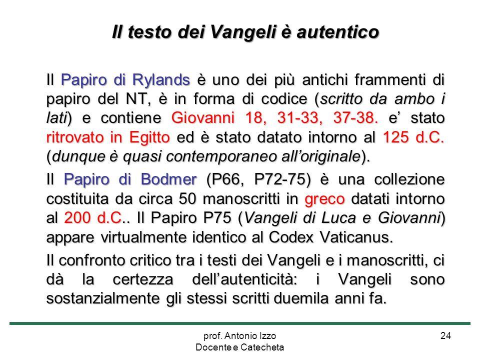 prof. Antonio Izzo Docente e Catecheta 24 Il testo dei Vangeli è autentico Il Papiro di Rylands è uno dei più antichi frammenti di papiro del NT, è in