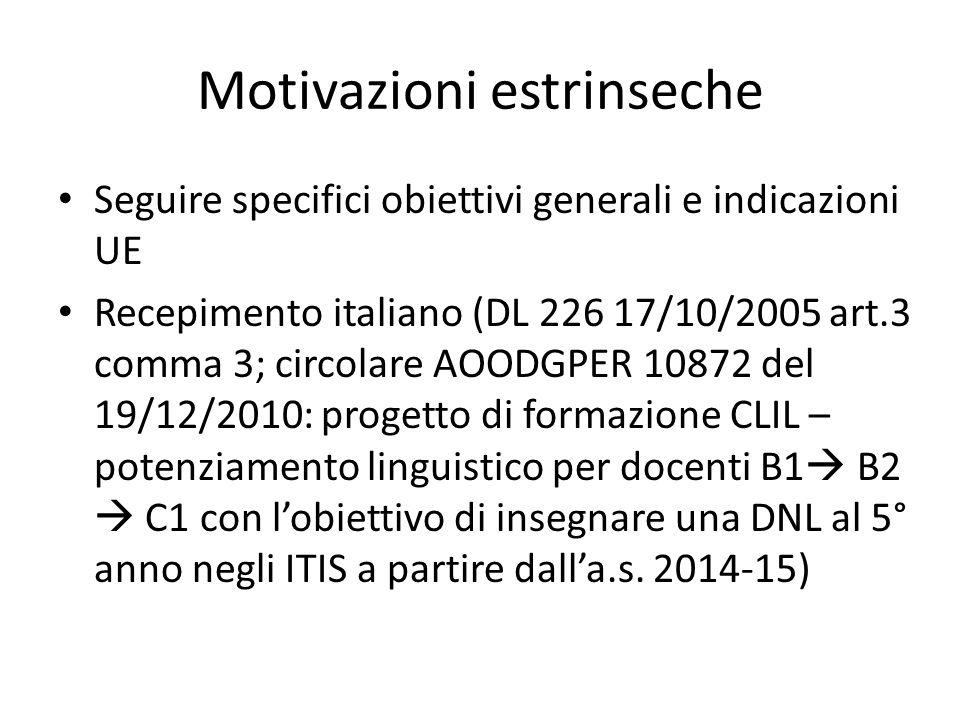 Motivazioni estrinseche Seguire specifici obiettivi generali e indicazioni UE Recepimento italiano (DL 226 17/10/2005 art.3 comma 3; circolare AOODGPE