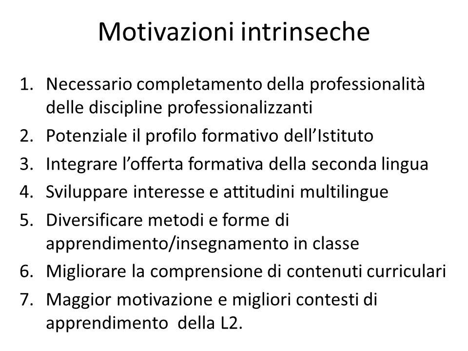 Motivazioni intrinseche 1.Necessario completamento della professionalità delle discipline professionalizzanti 2.Potenziale il profilo formativo dell'I