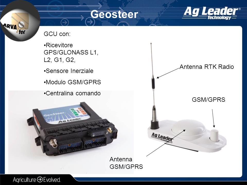 Geosteer Antenna RTK Radio GCU con: Ricevitore GPS/GLONASS L1, L2, G1, G2, Sensore Inerziale Modulo GSM/GPRS Centralina comando GSM/GPRS Antenna GSM/G