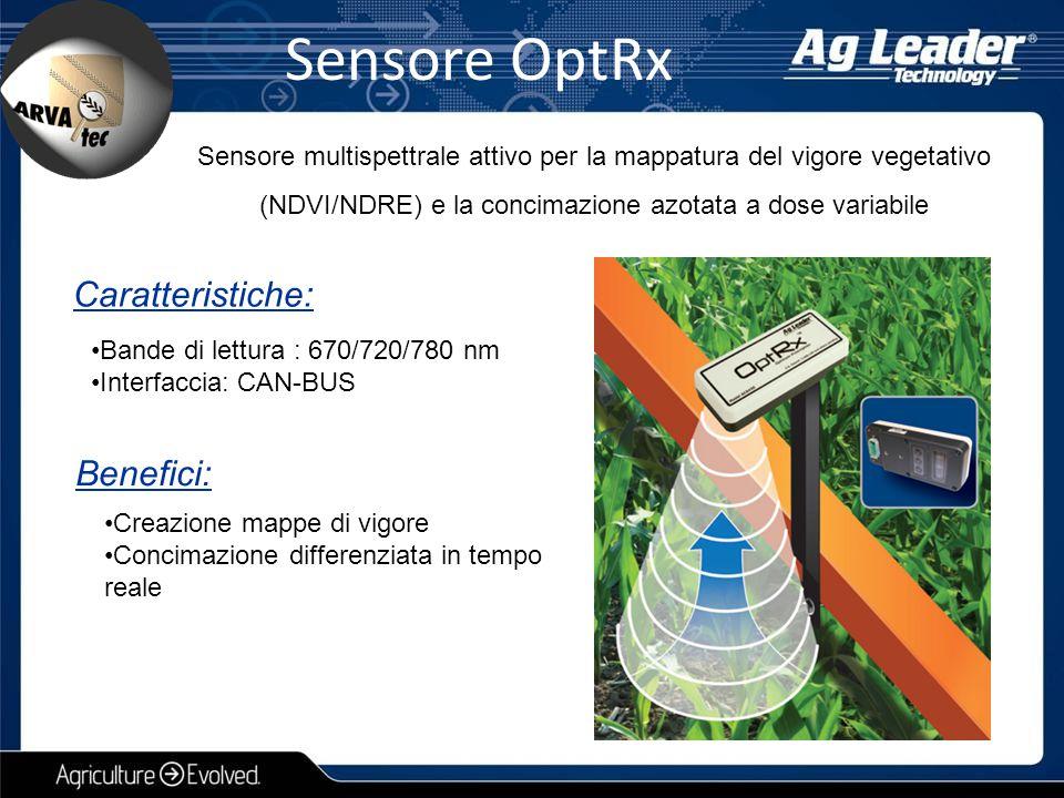 Sensore OptRx Sensore multispettrale attivo per la mappatura del vigore vegetativo (NDVI/NDRE) e la concimazione azotata a dose variabile Caratteristi