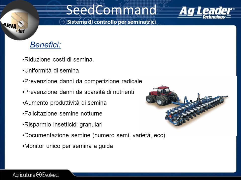 SeedCommand Sistema di controllo per seminatrici Riduzione costi di semina. Uniformità di semina Prevenzione danni da competizione radicale Prevenzion