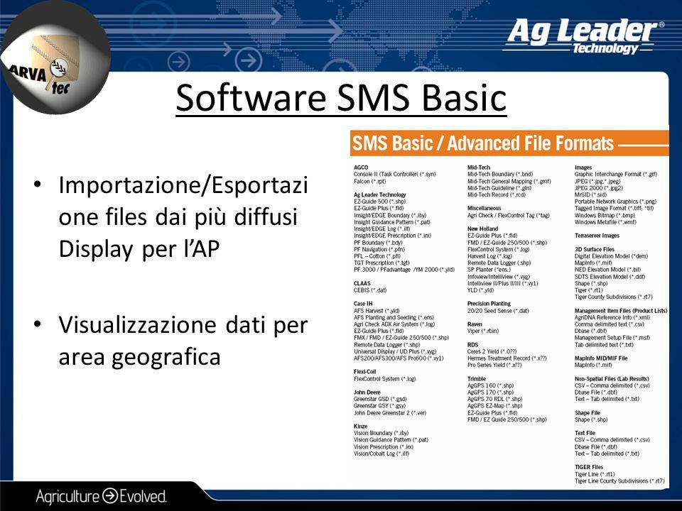 Software SMS Basic Importazione/Esportazi one files dai più diffusi Display per l'AP Visualizzazione dati per area geografica