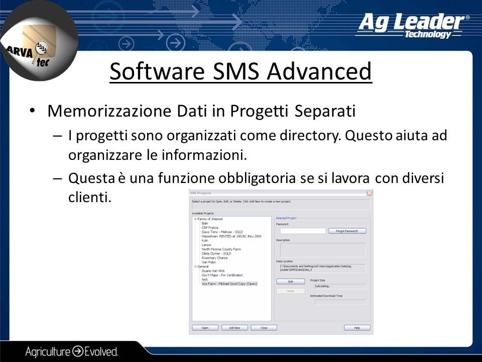 Software SMS Advanced Memorizzazione Dati in Progetti Separati – I progetti sono organizzati come directory. Questo aiuta ad organizzare le informazio