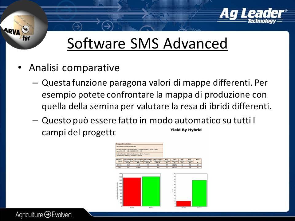 Analisi comparative – Questa funzione paragona valori di mappe differenti. Per esempio potete confrontare la mappa di produzione con quella della semi