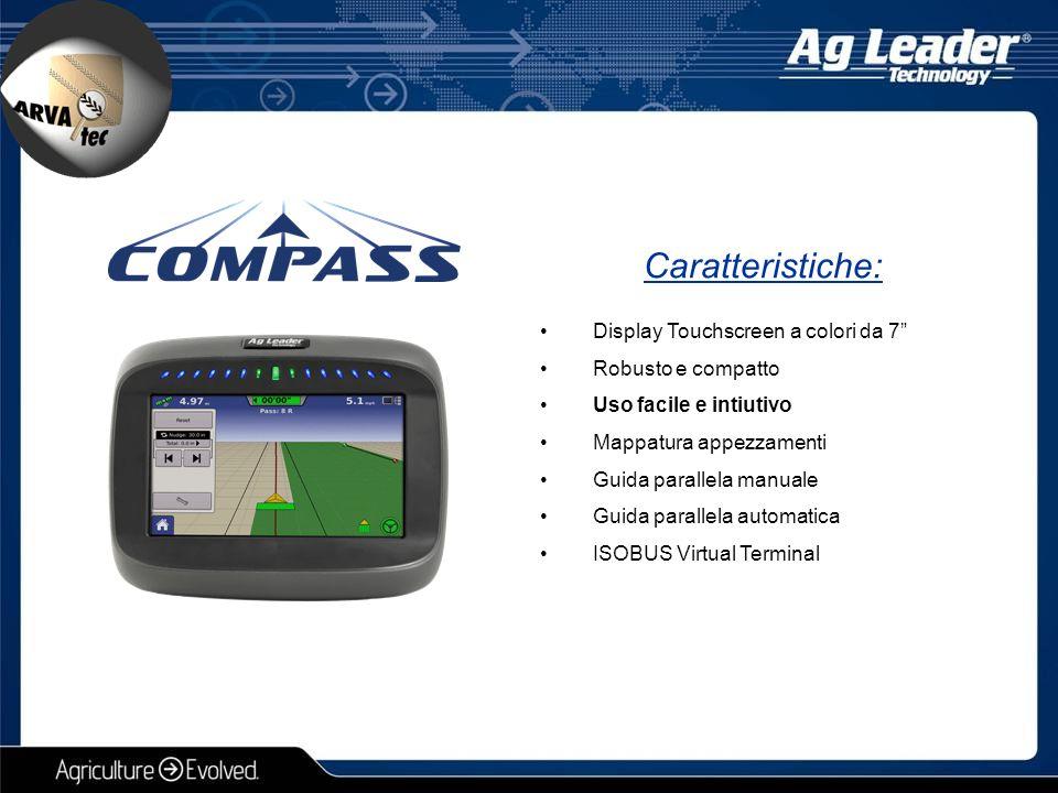 """Display Touchscreen a colori da 7"""" Robusto e compatto Uso facile e intiutivo Mappatura appezzamenti Guida parallela manuale Guida parallela automatica"""
