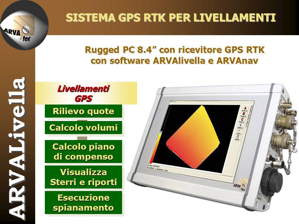 LivellamentiGPS SISTEMA GPS RTK PER LIVELLAMENTI ARVALivella Rilievo quote Calcolo piano di compenso Visualizza Sterri e riporti Esecuzione spianament