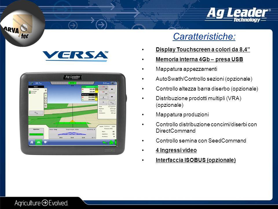 Caratteristiche: Display Touchscreen a colori da 12 Memoria interna 4Gb – presa USB Mappatura appezzamenti avanzata AutoSwath/Controllo Sezioni Controllo altezza barra diserbo (opzionale) Distribuzione prodotti multipli (VRA) Mappatura produzioni avanzata Controllo distribuzione concimi/diserbi con DirectCommand Controllo semina con SeedCommand 4 Ingressi video Interfaccia ISOBUS Monitoraggio uniformità di semina avanzato Gestioni sensori ad infrarossi OptRx Creazione Smart-report ed esportazione in PDF