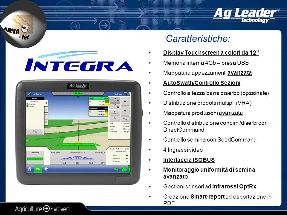 """Caratteristiche: Display Touchscreen a colori da 12"""" Memoria interna 4Gb – presa USB Mappatura appezzamenti avanzata AutoSwath/Controllo Sezioni Contr"""