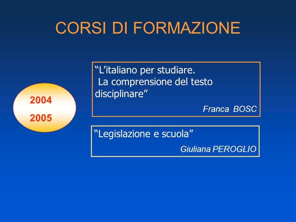 CORSI DI FORMAZIONE 2004 2005 L'italiano per studiare.