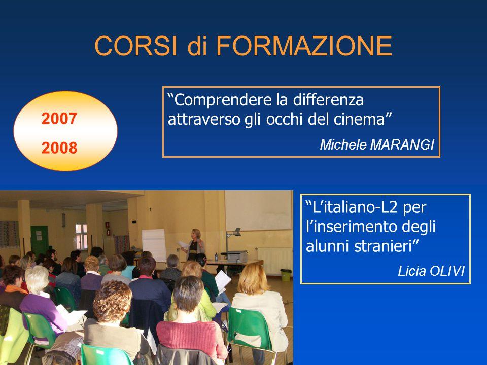 CORSI di FORMAZIONE 2007 2008 L'italiano-L2 per l'inserimento degli alunni stranieri Licia OLIVI Comprendere la differenza attraverso gli occhi del cinema Michele MARANGI