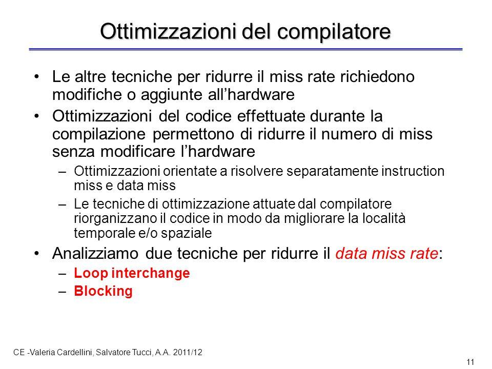CE -Valeria Cardellini, Salvatore Tucci, A.A. 2011/12 11 Ottimizzazioni del compilatore Le altre tecniche per ridurre il miss rate richiedono modifich
