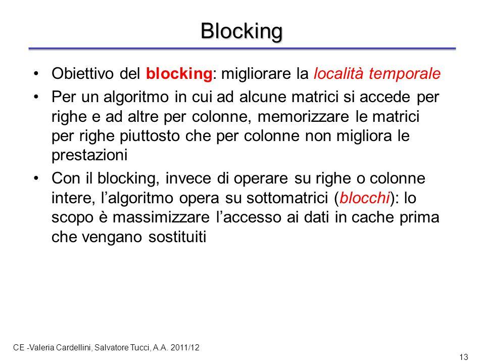 CE -Valeria Cardellini, Salvatore Tucci, A.A. 2011/12 13 Blocking Obiettivo del blocking: migliorare la località temporale Per un algoritmo in cui ad