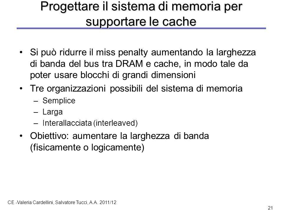 CE -Valeria Cardellini, Salvatore Tucci, A.A. 2011/12 21 Progettare il sistema di memoria per supportare le cache Si può ridurre il miss penalty aumen