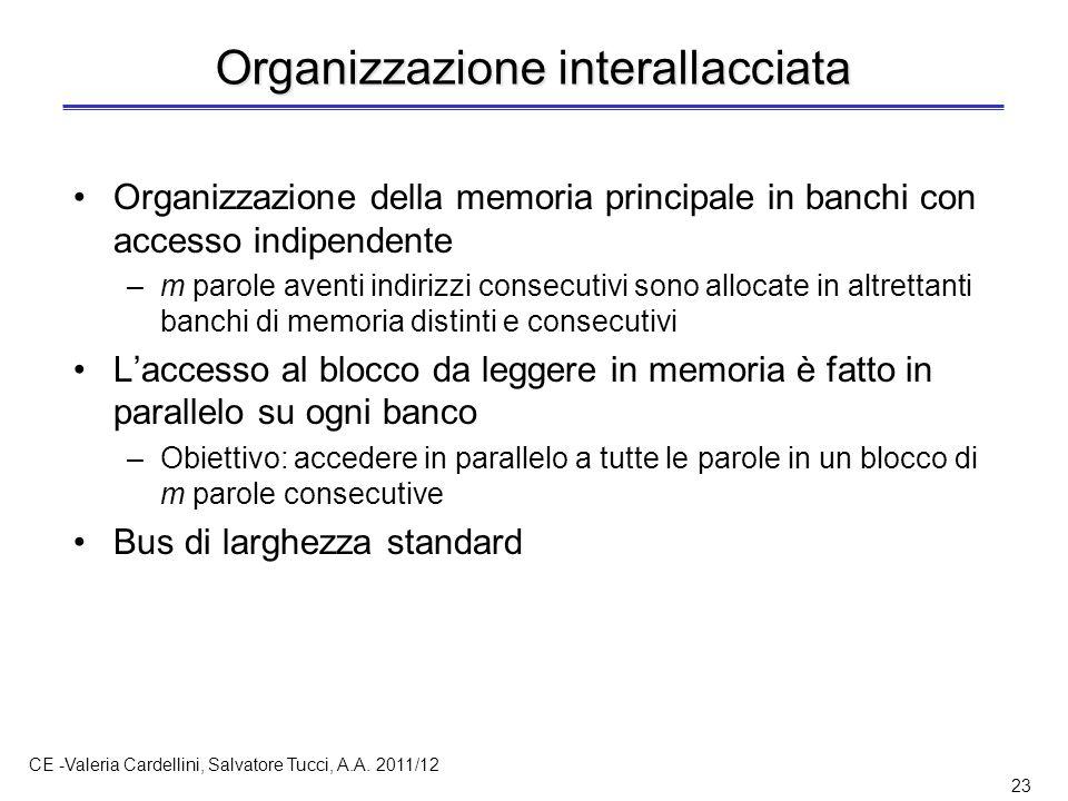 CE -Valeria Cardellini, Salvatore Tucci, A.A. 2011/12 23 Organizzazione interallacciata Organizzazione della memoria principale in banchi con accesso