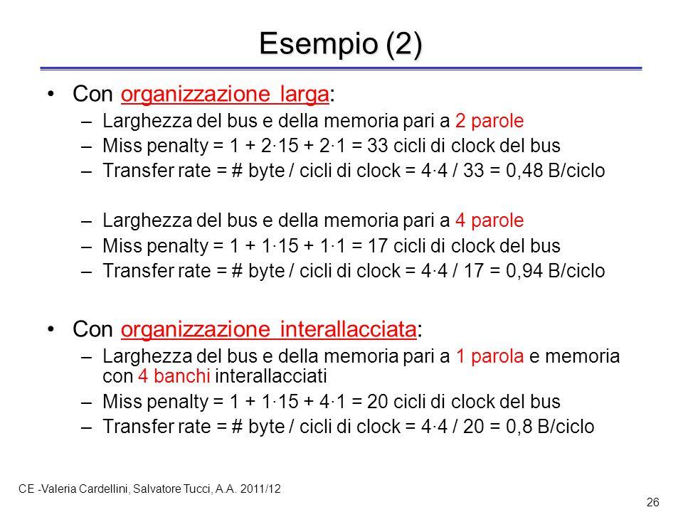 CE -Valeria Cardellini, Salvatore Tucci, A.A. 2011/12 26 Esempio (2) Con organizzazione larga: –Larghezza del bus e della memoria pari a 2 parole –Mis