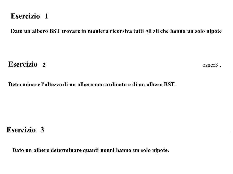 Esercizio 1 Dato un albero BST trovare in maniera ricorsiva tutti gli zii che hanno un solo nipote Esercizio 2 esnor3.