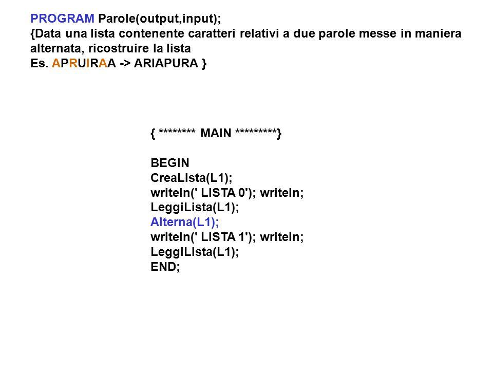 PROGRAM Parole(output,input); {Data una lista contenente caratteri relativi a due parole messe in maniera alternata, ricostruire la lista Es.