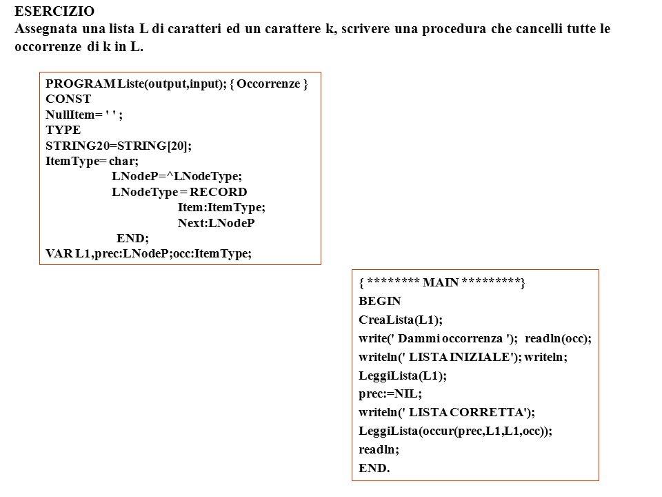 ESERCIZIO Assegnata una lista L di caratteri ed un carattere k, scrivere una procedura che cancelli tutte le occorrenze di k in L.