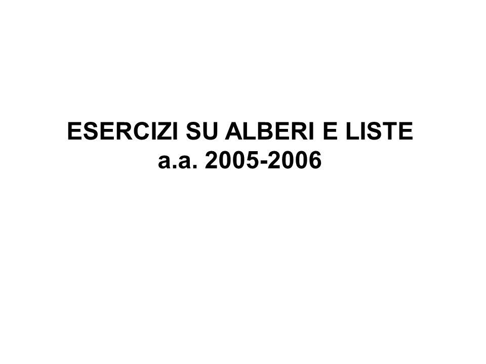 ESERCIZI SU ALBERI E LISTE a.a. 2005-2006