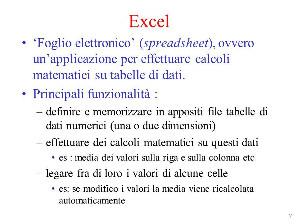7 Excel 'Foglio elettronico' (spreadsheet), ovvero un'applicazione per effettuare calcoli matematici su tabelle di dati.