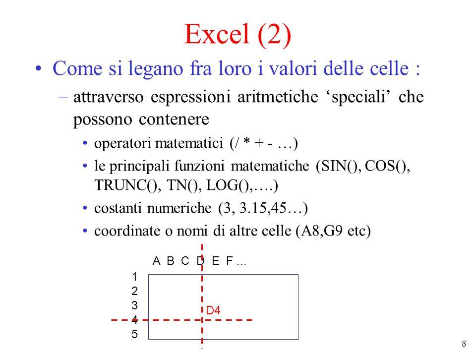 8 Excel (2) Come si legano fra loro i valori delle celle : –attraverso espressioni aritmetiche 'speciali' che possono contenere operatori matematici (/ * + - …) le principali funzioni matematiche (SIN(), COS(), TRUNC(), TN(), LOG(),….) costanti numeriche (3, 3.15,45…) coordinate o nomi di altre celle (A8,G9 etc) 1234512345 A B C D E F...