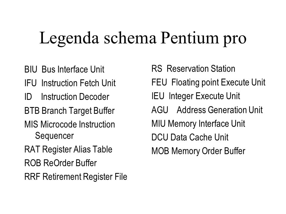 Legenda schema Pentium pro BIU Bus Interface Unit IFU Instruction Fetch Unit ID Instruction Decoder BTB Branch Target Buffer MIS Microcode Instruction Sequencer RAT Register Alias Table ROB ReOrder Buffer RRF Retirement Register File RS Reservation Station FEU Floating point Execute Unit IEU Integer Execute Unit AGU Address Generation Unit MIU Memory Interface Unit DCU Data Cache Unit MOB Memory Order Buffer