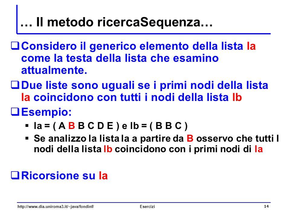 14 http://www.dia.uniroma3.it/~java/fondinf/Esercizi … Il metodo ricercaSequenza…  Considero il generico elemento della lista la come la testa della