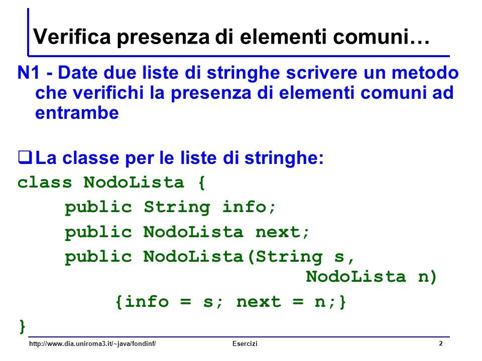 2 http://www.dia.uniroma3.it/~java/fondinf/Esercizi Verifica presenza di elementi comuni… N1 - Date due liste di stringhe scrivere un metodo che verif