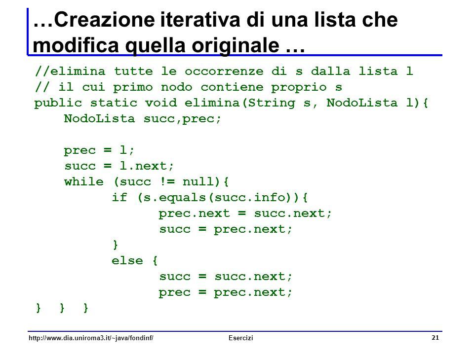 21 http://www.dia.uniroma3.it/~java/fondinf/Esercizi …Creazione iterativa di una lista che modifica quella originale … //elimina tutte le occorrenze d