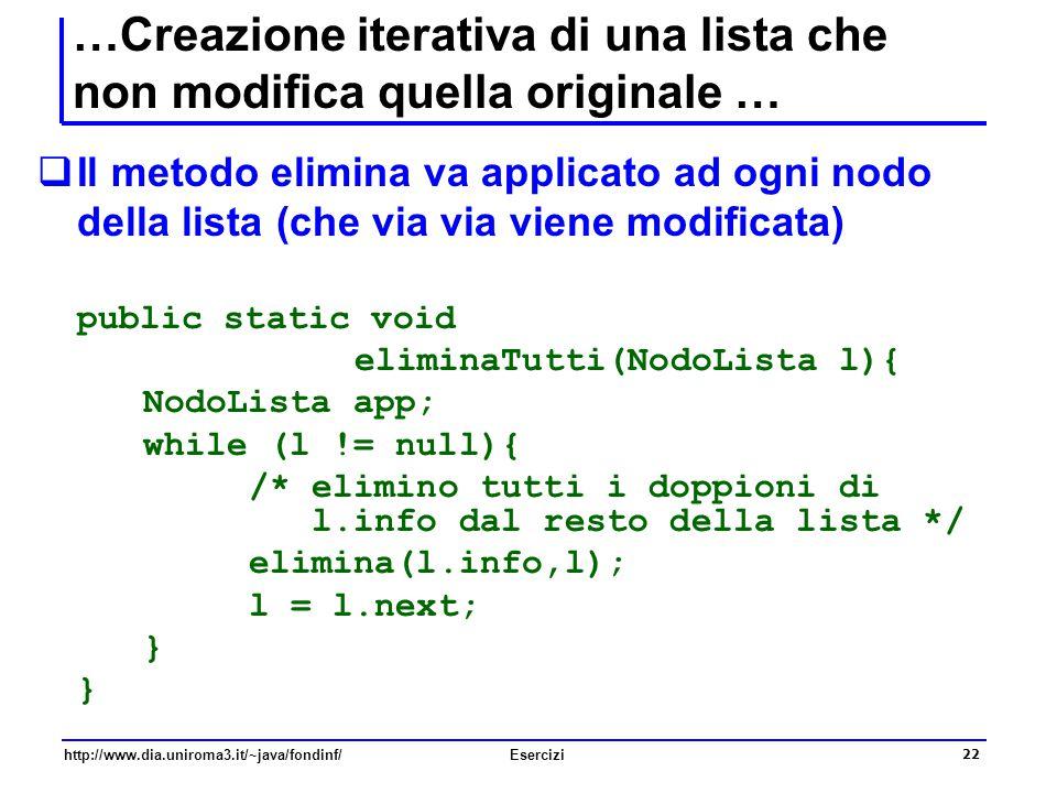 22 http://www.dia.uniroma3.it/~java/fondinf/Esercizi …Creazione iterativa di una lista che non modifica quella originale …  Il metodo elimina va appl