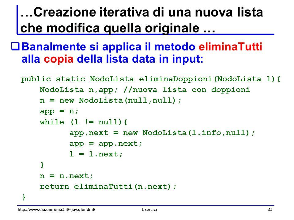 23 http://www.dia.uniroma3.it/~java/fondinf/Esercizi …Creazione iterativa di una nuova lista che modifica quella originale …  Banalmente si applica i