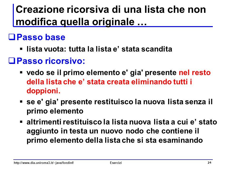 24 http://www.dia.uniroma3.it/~java/fondinf/Esercizi Creazione ricorsiva di una lista che non modifica quella originale …  Passo base  lista vuota: