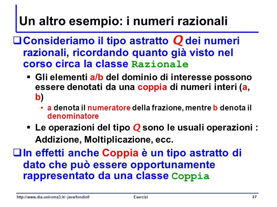 27 http://www.dia.uniroma3.it/~java/fondinf/Esercizi Un altro esempio: i numeri razionali  Consideriamo il tipo astratto Q dei numeri razionali, rico