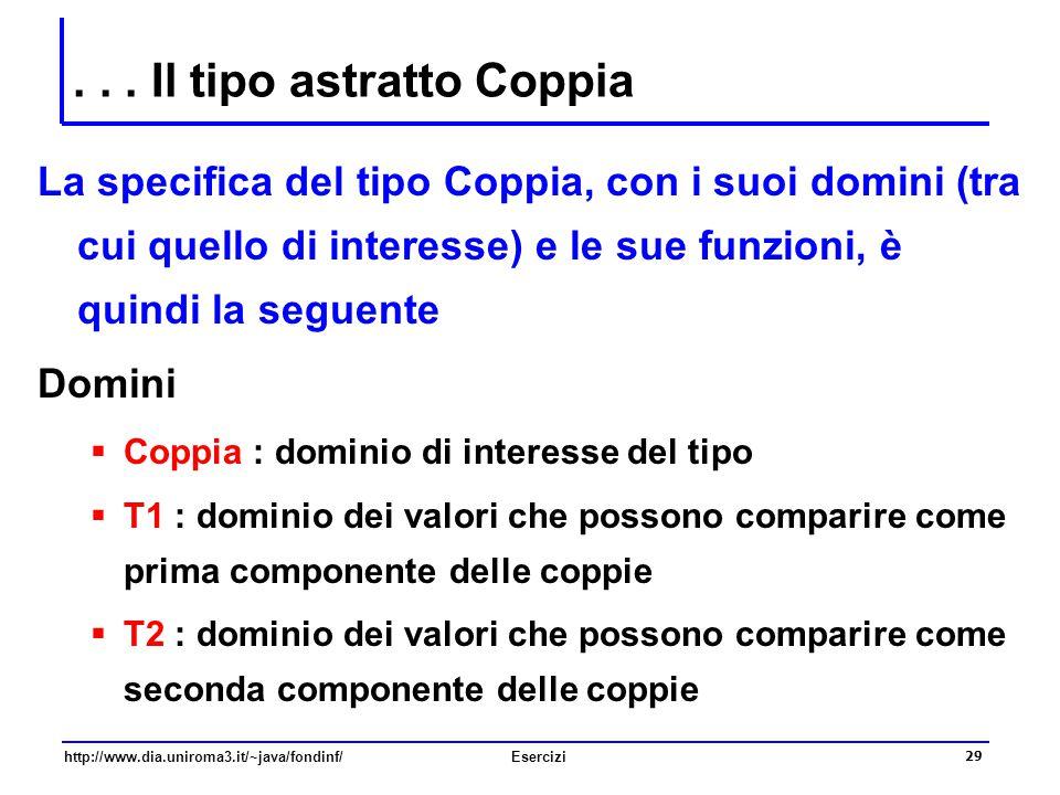 29 http://www.dia.uniroma3.it/~java/fondinf/Esercizi... Il tipo astratto Coppia La specifica del tipo Coppia, con i suoi domini (tra cui quello di int
