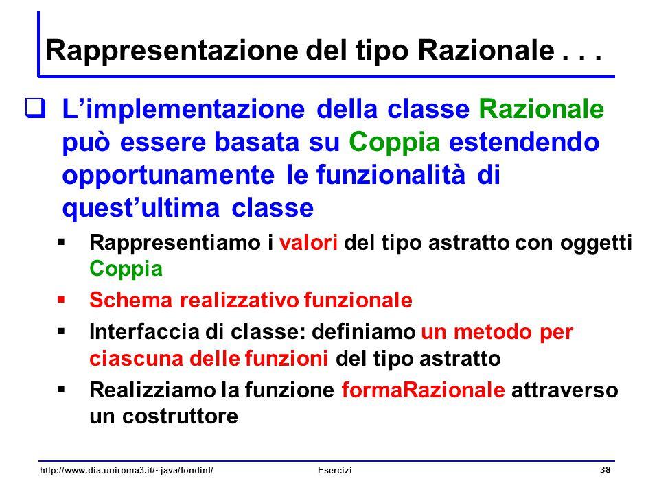 38 http://www.dia.uniroma3.it/~java/fondinf/Esercizi Rappresentazione del tipo Razionale...  L'implementazione della classe Razionale può essere basa