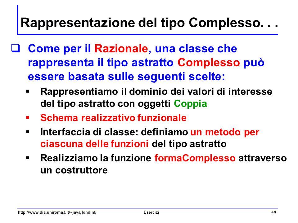 44 http://www.dia.uniroma3.it/~java/fondinf/Esercizi Rappresentazione del tipo Complesso...  Come per il Razionale, una classe che rappresenta il tip