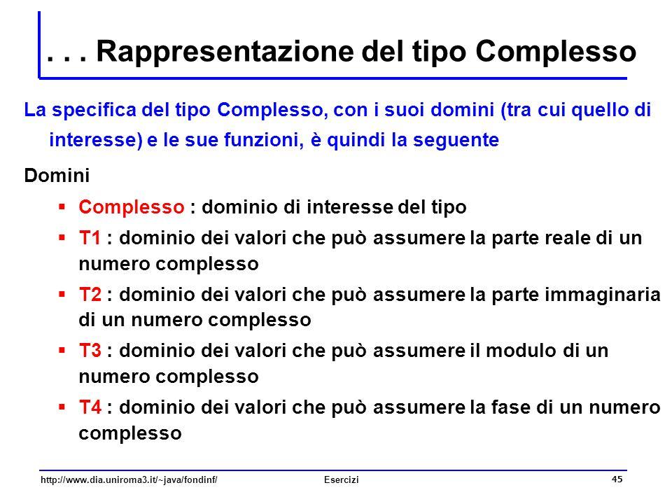 45 http://www.dia.uniroma3.it/~java/fondinf/Esercizi... Rappresentazione del tipo Complesso La specifica del tipo Complesso, con i suoi domini (tra cu