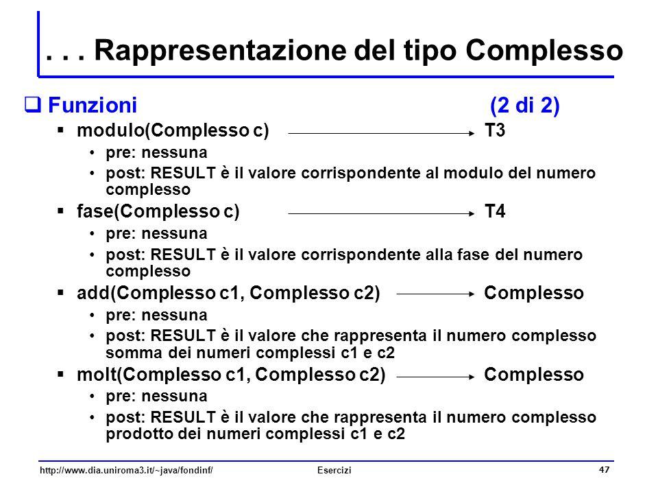 47 http://www.dia.uniroma3.it/~java/fondinf/Esercizi  Funzioni (2 di 2)  modulo(Complesso c) T3 pre: nessuna post: RESULT è il valore corrispondente