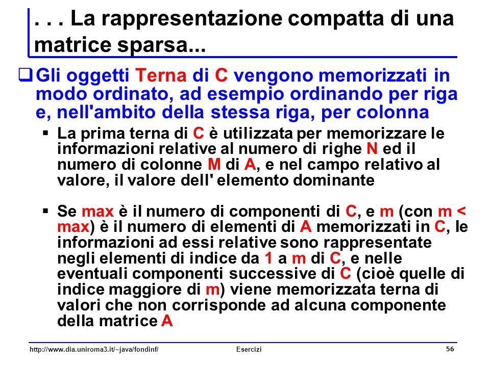 56 http://www.dia.uniroma3.it/~java/fondinf/Esercizi... La rappresentazione compatta di una matrice sparsa...  Gli oggetti Terna di C vengono memoriz