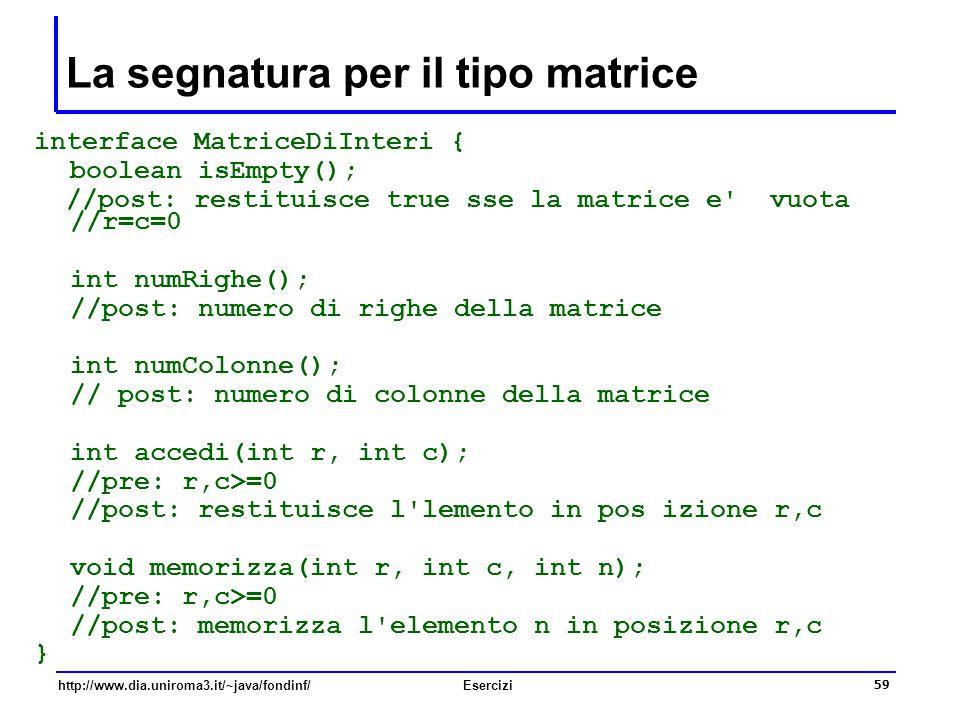 59 http://www.dia.uniroma3.it/~java/fondinf/Esercizi La segnatura per il tipo matrice interface MatriceDiInteri { boolean isEmpty(); //post: restituis